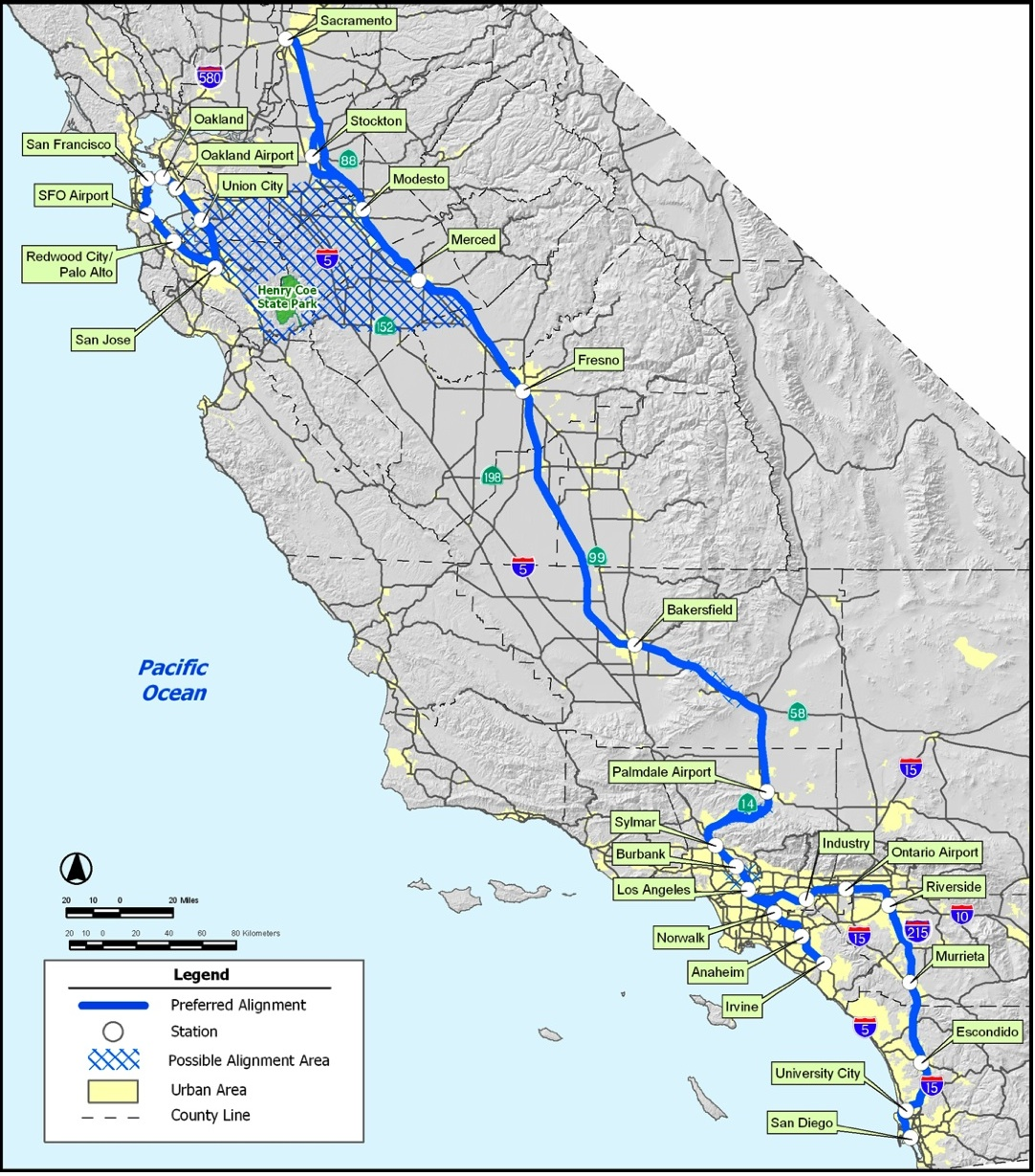 Map Of California High Speed Rail.High Speed Rail Part 5 The Cost Of California Hsr The Antiplanner