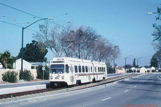 A Nearly Empty VTA Light Rail Car In Sunnyvale.